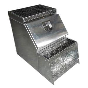 Aluminum truck step toolboxes